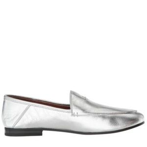 COACH Hallie SZ 6.5 Silver Metallic Leather Loafer